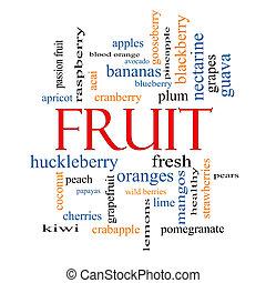 frugt, glose, sky, begreb