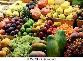 frugt, marked, hos, adskillige, farverig, friske frugter grønsager, -, marked, series