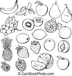 frugt, og, berry, samling