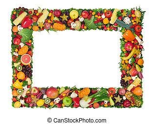 frugt, og, grønsag, ramme