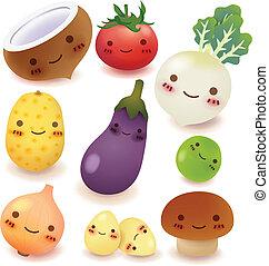 frugt, og, grønsag, samling