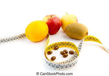 frugt, pillerne, by, en, diæt