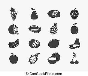 frugt, silhuetter, iconerne
