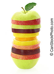 frugt, skiver, by, en, sunde, ernæring