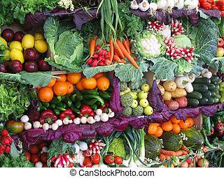 frugter, farverig, grønsager
