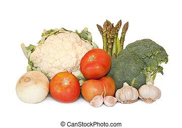 frugter grønsager, isoleret, på hvide, baggrund