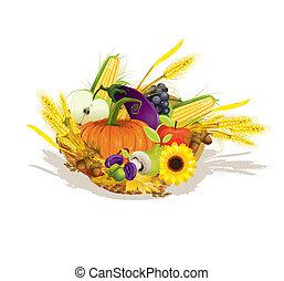 frugter, illustration, grønsager, høst, vektor, rige
