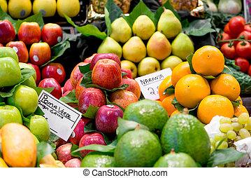 frugter mangfoldighed, hos, den, marked