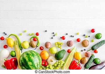 frugter mangfoldighed, og, grønsager, på, en, hvid, af træ, baggrund