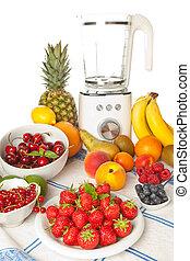 fruit été, et, smoothie, mixer