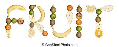 'fruit', 作られた, 単語, フルーツ, から