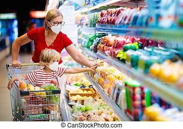 fruit, achat, mère, supermarket., enfant