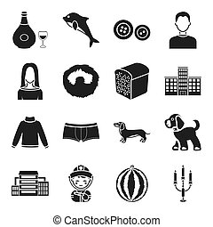 fruit, alcohol, animal and other web icon in black style. game, clothes, atelier icons in set collection.