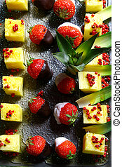 fruit allsorts with foundue and strawberry