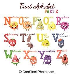 Fruit alphabet - Full vector cute cartoon tasty alphabet for...