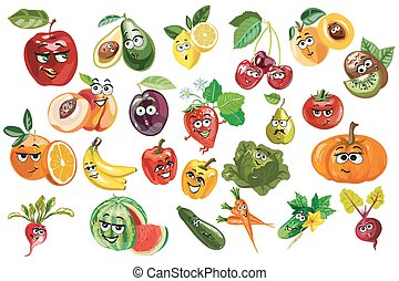 Fruit And Berries and vegetables Characters Sitting And Waving