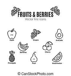 Fruit and Berries icon set. Vegan natural bio pictograms. ,...
