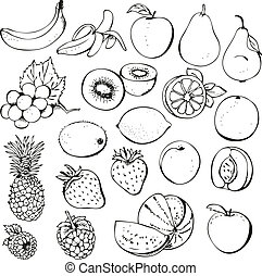 Fruit and berry collection - Fruit berry set isolated on a...
