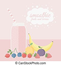 Fruit and berry smoothie in jar