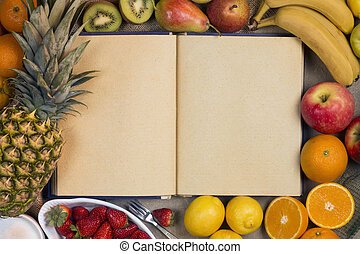 Fruit and Blank Recipe Book - Space for Text - A selection...