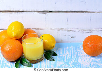 Fruit and juice on the table