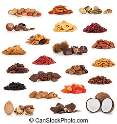 Healthy dried fruit and nut food collection isolated over white background.