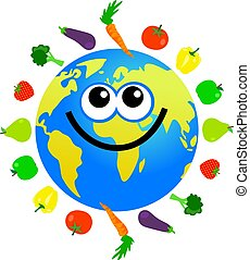 cartoon world globe surrounded by fruit and vegetables