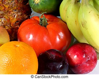 fruits and veggies, shallow dof