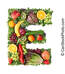 Fruit and vegetable alphabet - letter E