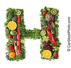 Fruit and vegetable alphabet - letter H