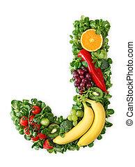 Fruit and vegetable alphabet - letter J