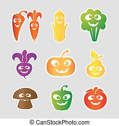 Fruit and vegetable Collection . Vector Illustration