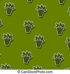 Fruit and vegetable doodle seamless pattern. Green background and cover.