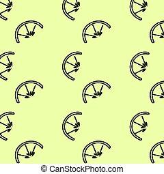 Fruit and vegetable doodle seamless pattern. Green bc. Lemon.