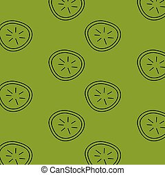 Fruit and vegetable doodle seamless pattern. kiwi green bc.