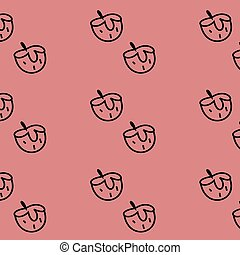 Fruit and vegetable doodle seamless pattern. Strawberry red bc.