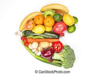 Fruit and vegetable heart isolated.