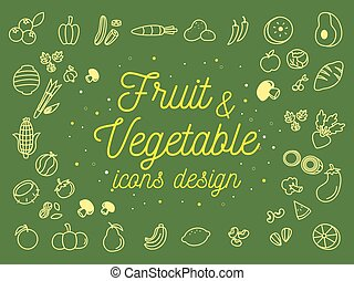 Fruit And Vegetable Icons Design Set. Vector Illustration
