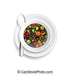 fruit and vegetable in cup of coffee illustration