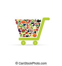 fruit and vegetable in shopping basket illustration