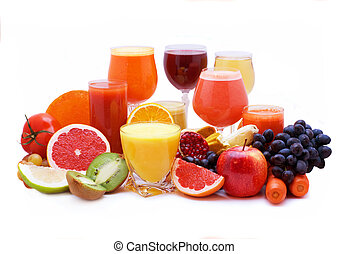 Glasses of fruit and vegetable juice with fruits
