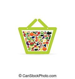 fruit and vegetable like shopping basket color illustration