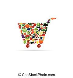 fruit and vegetable like shopping basket illustration