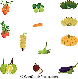 fruit and vegetable on white background