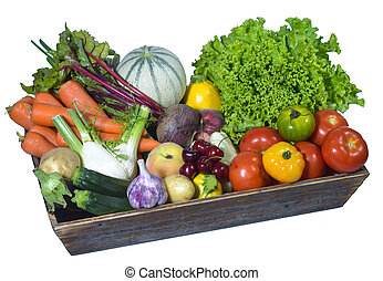 Fruit and vegetable in a wooden box, white background