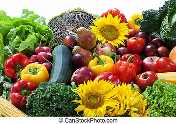 Fruit and vegetable pile full of colors and vitamins