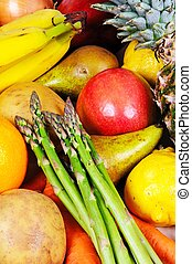 Fruit and vegetable selection.