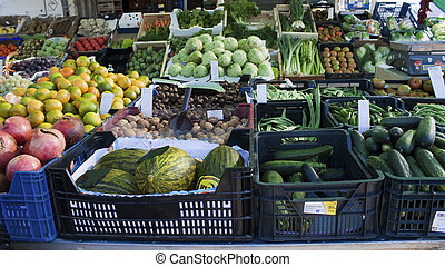 Fruit and vegetable stand in Spanish market