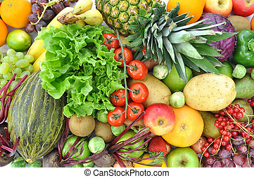 Array of ripe fruits and vegetables