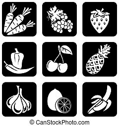 fruit and vegetables icons - set of vector silhouettes of...